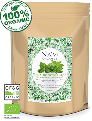 Poudre de feuilles crues de Stevia Rebaudiana certifiée biologique (100g)