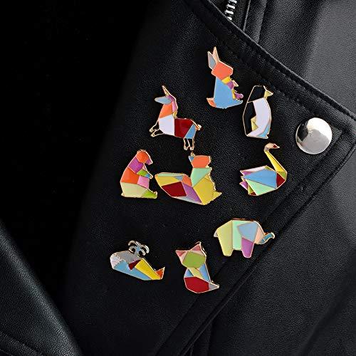 SHAOWU 9 unids/Set Origami Conejo Zorro Cisne Oso Ardilla Caballo pingüino Elefante Ballena Broche Collar Ramillete Camisa Bolsa Gorra Chaqueta Pin Insignia
