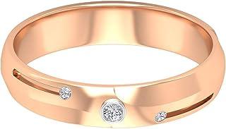 Anello in oro moissanite 0,03 ct, unico, anello nuziale da sposo, classico bicolore, anello di fidanzamento, con tre pietr...