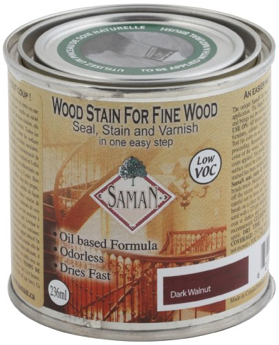 SamaN SAM-314-8 8-Ounce Interior Stain for Fine Wood for Seal, Stain and Varnish, Dark Walnut