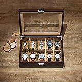 Organizadores y cajas para joyas Caja de reloj de joyería de madera Caja de exhibición de la colección de reloj de 10 bits Caja de cristal con tragaluz Con cerradura y 10 almohadas de almacenamiento e