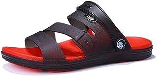 Fashion Sandals for Men Slipper Shoes Slip On Plastic Leather Dual Purpose Shoes Men's Boots (Color : Black Red, Size : 7.5 UK)