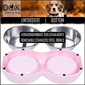 DDOXX Gamelle Double pour Chien, Antidérapante | Nombreuses Couleurs & Tailles | pour Petit, Moyen Gros & Grand | Bol en Acier INOX-ydable en Mélamine Chat Chiot | Rose, 2 x 160 ML