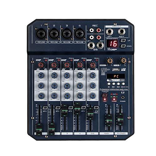 AFYH Mesas de Mezcla de Estudio, Consola mezcladora de Audio Profesional de 6 Canales para presentaciones en el Escenario o Bodas con USB / MP3, computadora en casa, Mezclador de Audio en Vivo