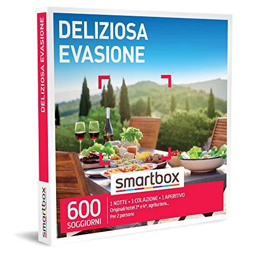 Smartbox -Deliziosa Evasione - Cofanetto Regalo Coppia, 1 Notte con Colazione e Aperitivo per 2 Persone, Idee Regalo Originale