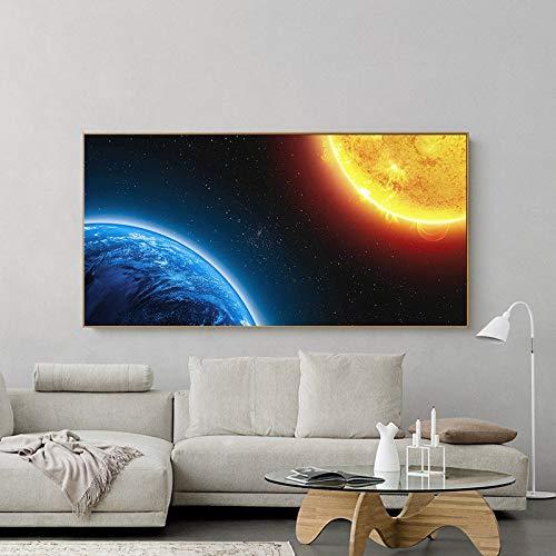 Moderne Universumslandschaft Leinwand Erde und Sonne Wandkunst Bild Wohnzimmer Hauptdekoration,Rahmenlose Malerei,60x120cm