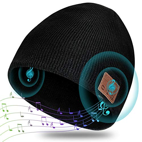 ColoFocus Bluetooth Beanie Hat for Men, Music Hat Men Hat Bluetooth Headphone Beanie Hat, Unisex Gift for Men Husband Teenagers Boys Dad, Christmas Sports Outdoor Gift