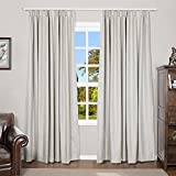 TWOPAGES Blackout Linen Pinch Pleated Drape for Living Room, Thermal Insulated Curtain Window Treatment Privacy Protecting Panel (1 Panel, W72 x L96, Beige)