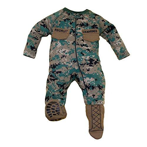 TC U.S.M.C. Baby Boys Woodland Camo Crawler with Recruit Boots (0-3 Months)