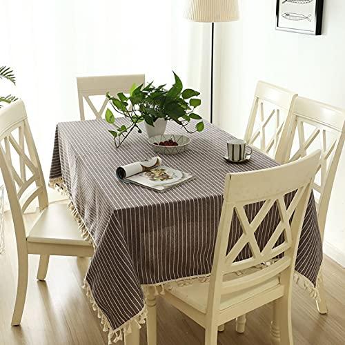 DSman Mesa de Comedor Lavable Cubierta de Lino de Tela con Borla de algodón Flameado de Lino de poliéster a Rayas Simple