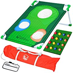 BATTLECHIP: An exciting new hybrid between golf and corn hole for the ultimate outdoor game; easy to learn and fun for all skills levels – includes 3'x2' target, hitting mat, 16 color foam balls and carry case TOURNAMENT PLAY: Dynamic gameplay over t...