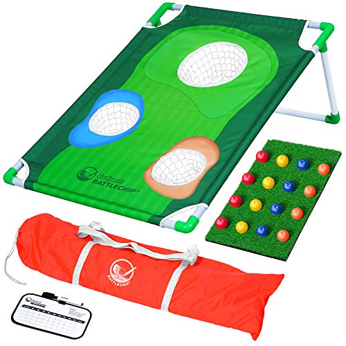 GoSports BattleChip Backyard Golf Cornhole Game, Includes Chipping Target, 16 Foam Balls, Hitting Mat and Carrying Case