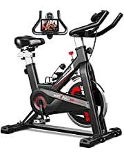 YONKFUL Exercise Bike Belt Drive Indoor Cycling Bike Adjustable Stationary Bicycle Home Gym Bike for Workout Cardio Bikes with LCD Display and Seat Cushion