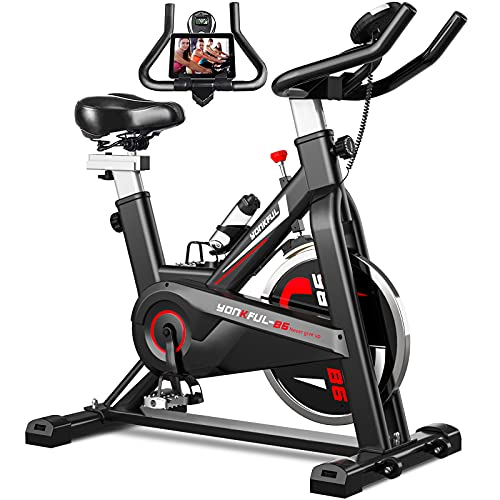 YONKFUL Exercise Bike Belt Drive Indoor Cycling Bike Adjustable Stationary Bicycle Home Gym Bike for Workout Cardio Bikes with Tablet Holder and Comfy Seat Cushion