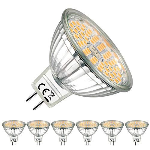EACLL Bombillas LED GU5.3 2700K Blanco Cálido Sin Parpadeo MR16 12V 5W 500 Lúmenes Equivalente 50W Halógena. 120 ° Luz Blanca Cálida Lámpara Reflectoras Spotlight, Pack de 6