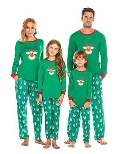 LucymeWeihnachten Pyjama Schlafanzüge Nachtwäsche Familie Weihnachts Schlafanzug Erwachsene Pyjama Set für Kinder, Jungen, Mädchen, Herren,Damen Sleepwear Set, Grün, Damen(M)