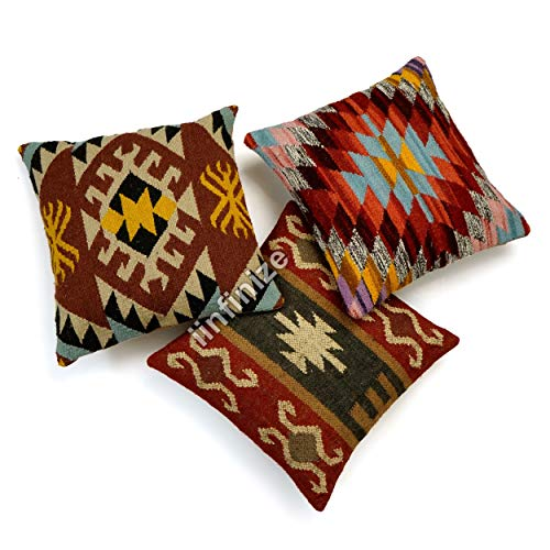 iinfinize Hand Knotted Bed Rest Cushion Cover Jute Sofa Sham Diwali Festival Cushion Cover 18x18'' wool Jute Bed Side Tassel Pillow Shaggy (Beige)