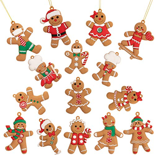 Whaline Christmas Gingerbread Ornaments Set 2.4' x 3' Ginger Man with Strings Figurine Hanging Ornaments for Xmas Tree Festive Season Holiday Party Decoration DIY Craft, 15 Pack