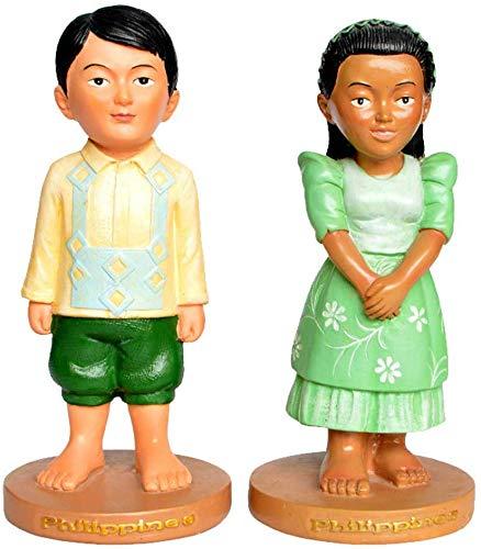 Decoration Home, Couple Sculptures, Filipino Traditional Costumes, Mini Desktop Ornaments, Synthetic Lacquered Crafts, Tourist Souvenirs (7X7X15 cm)