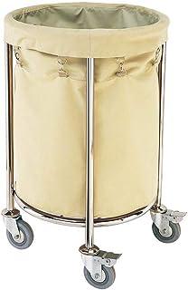 Chariot à Linge Chariot de trieuse de blanchisserie beige avec roue, panier à linge rond commercial pour le service d'étag...
