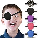 5 Parches Oculares Parches Ajustables de Ojos con Hebilla Parches para Ojos de Corrección Visual Cubiertas de Ojos Parche de Ojo de Pirata, Azul, Morado, Rosa, Negro, Estampado de Leopardo