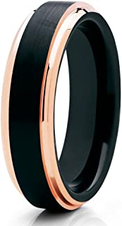 Silly Kings Rose Gold Tungsten Wedding Band,6mm Rose Gold Tungsten,Rose Gold Tungsten Ring,Black Ring