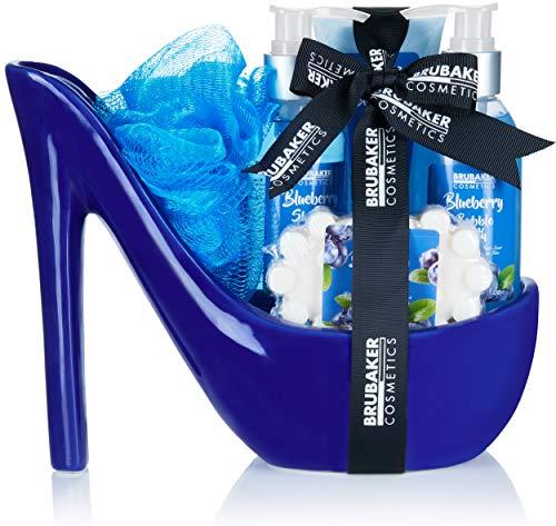 BRUBAKER Cosmetics Luxus Blaubeere Beautyset - 6-teiliges Bade- und Dusch Set - Geschenkset in Keramik Stiletto Blau