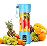 Dr.me Portable Blender, Personal Mixer Fruit Rechargeable with USB, Mini Blender for Smoothie, Fruit Juice, Full-face Mask, 380ml, Six 3D Blades for Great Mixing (Blue)