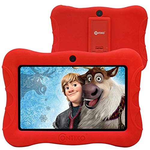Contixo 7' Kids Tablet V9-3 Learning Toy Android 9.0 Parental Control Tablets 2GB RAM 16GB Touchscreen HD Display WiFi Camera 20 Education Apps Best Gift (Red)