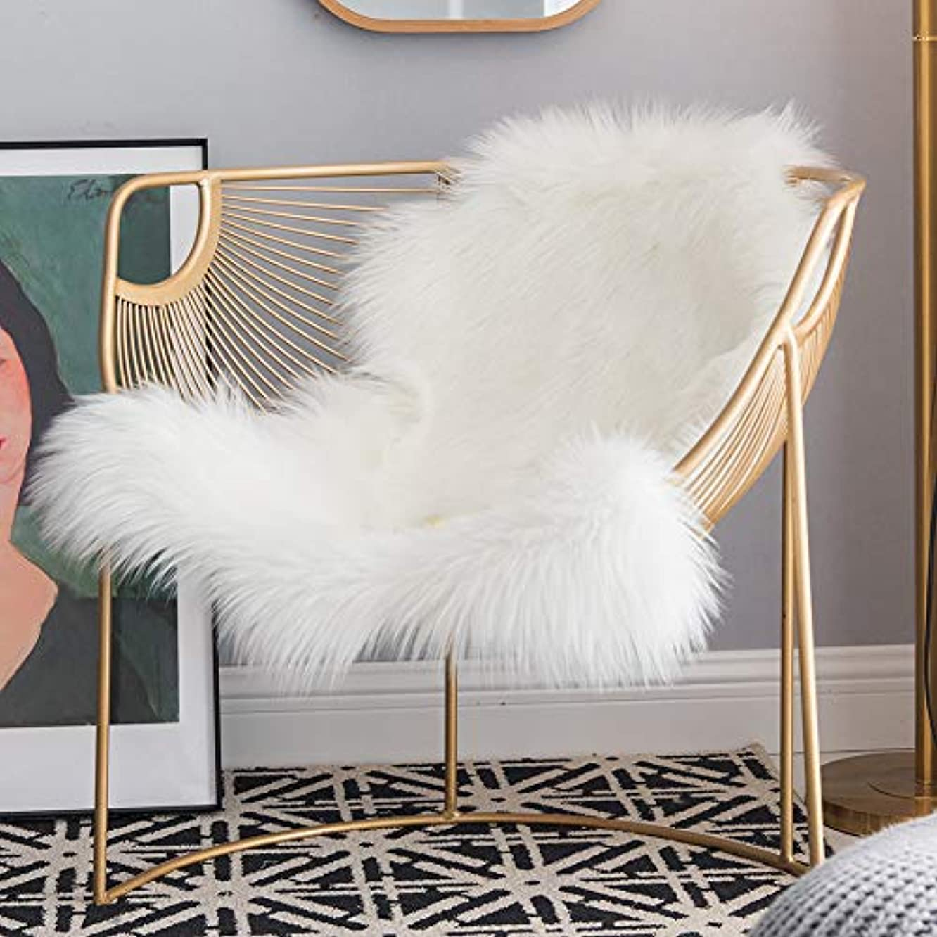 Carvapet Luxury Soft Faux Sheepskin Chair Cover Couch Seat Cushion Fur Pad Plush Area Rugs for Bedroom and Living Room, 2ft x 3ft, Ivory