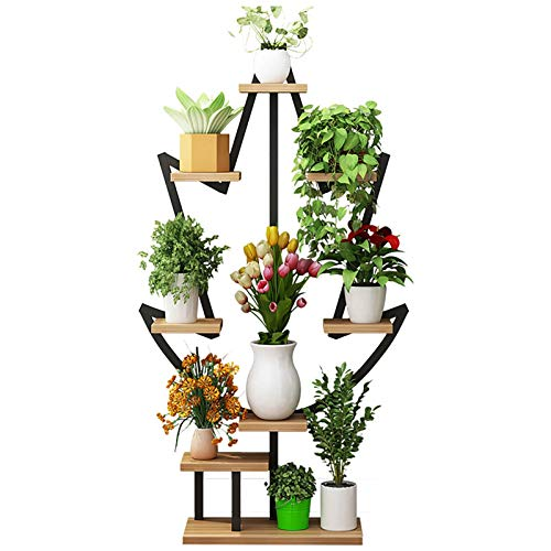 Flower Display Rack Tall Heavy Duty Metal Indoor Tiered Plant Stand, 6 Layer 8 Potted Flower Pots Holder Display Rack, Living Room Free Standing Plant Stands for Patio Garden Balcony Indoor Outdoor