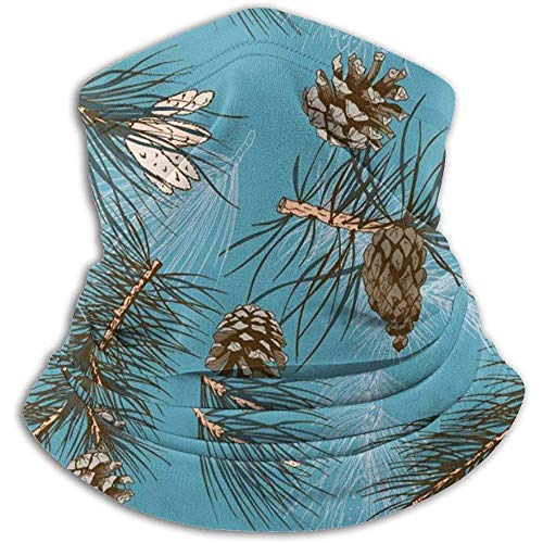 Randy-Shop Fond Bleu avec des Pommes de pin Neck Warmer Guêtre Bandeau Bandana Head Wrap Scarf Balaclava