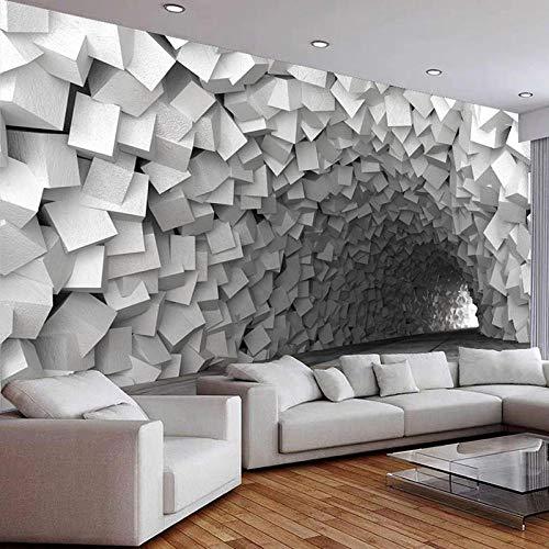 Papel pintado creativo moderno 3D estéreo gris cemento cueva espacio murales geométricos 3D sala de estar TV sofá dormitorio decoración del hogar, 430 W × 300 H cm