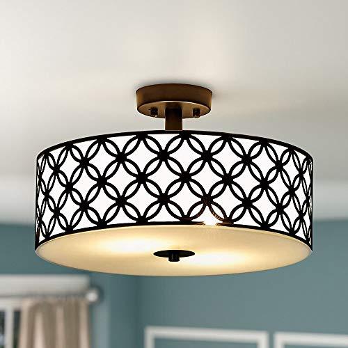 SOTTAE 12' Luxurious Black Finished Glass Diffuser Semi Flush Mount Ceiling Light,Metal Hanging Fixture Lighting,Glass Diffuser Ceiling Lamp for Bedroom,Living Room,Kitchen, Hallway