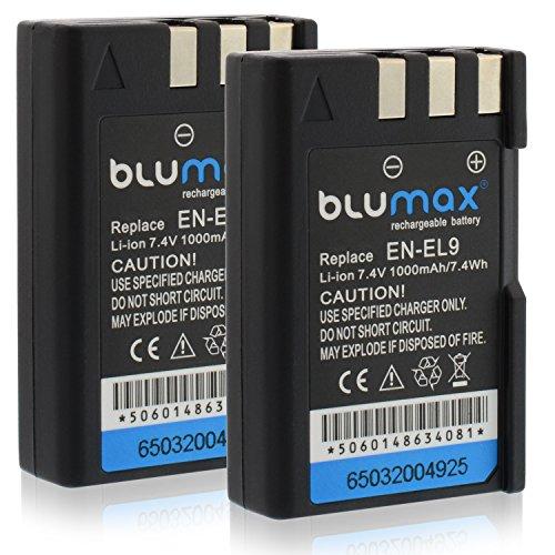 Blumax 2X Akku ersetzt Nikon EN-EL9 / EN-EL9e / EN-EL9a 1000mAh | kompatibel mit Nikon D40-D40X-D60-D3000-D5000