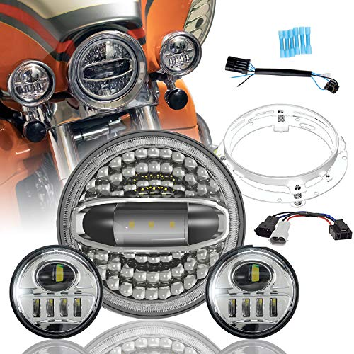 "Motorcycle 7"" LED Headlight with Halo for Harley Davidson Road King, Road Glide, Street Glide and Electra Glide,Ultra Limited with 4-1/2 LED Passing Lamps Fog Lights and Bracket Mounting Ring"