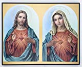 JWG Industries Sacred Heart of Jesus and Mary Wall Plaque on Hardwood