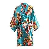 Sexy Robe for Women for Sex,Floral Satin Bridal Dressing Gown Wedding Bride Bridesmaid Kimono Sleepwear Tigivemen Sky Blue