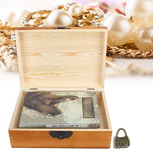 Caja de madera, Caja de almacenamiento de madera, Caja de almacenamiento con cerradura, Resistente al desgaste para cosméticos, Monedas, Joyas Exquisita mano de obra Inicio