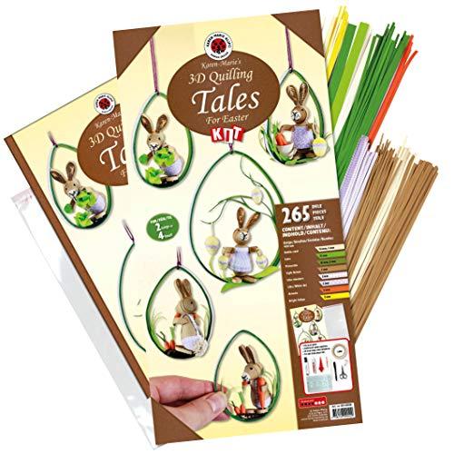 Karen Marie Klip Quilling-Set Tales for Easter 260 Quilling Papierstreifen Hasen basteln inkl. Anleitung