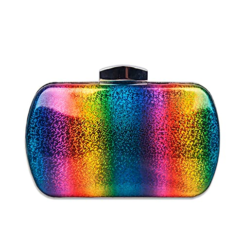 QIANJINGCQ personalidad de moda todo-fósforo color del arco iris bolsa de cena láser PU bolso de embrague color degradado bolso femenino diseño simple mochila para dama