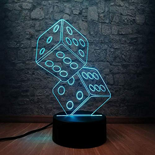3D Night Lamp Safety First, Double Dice Usb Table Touch Rgb Art Child Christmas Toy Baby Lights Gift Lamp Light Birthday Toys Bedside Room Led Bedroom Children Lamps Home Acrylic Decor Illusion Gifts