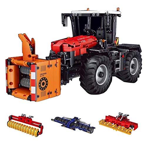 Xshion 2716 Teile Technik Gabelstapler Ferngesteuert Modell mit 4 Motoren, 2.4G RC Technik Traktor Ferngesteuert Traktor, 4-In-1 Traktor Modell Bausatz Erwachsene, Kompatibel mit Großen Marken