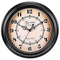 Fzy.bstim 12 Inch Silent Non-Ticking Wall Clock Retro Vintage Quartz Decorative Wall Clock for Living Room Kitchen Home Office,Battery Operated,Brown