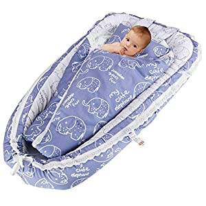 Oenbopo Newborn Lounger, Baby Soft Breathable Portable Crib Co-Sleeping Bed with Pillow and Quilt for 0-2 Year Baby Boys and Girls (Elephant – Blue)