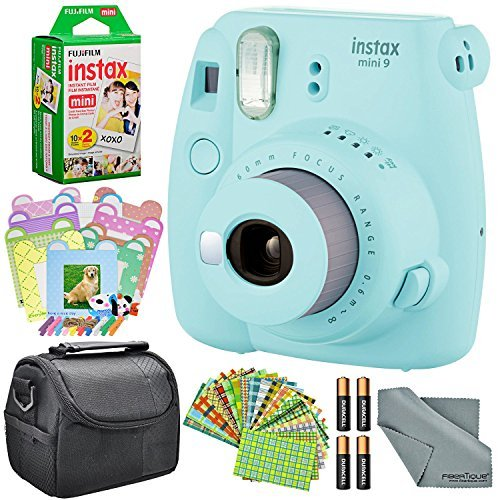 Fujifilm Instax Mini 9 Instant Film Camera (Ice Blue) and Accessory Package w/Frames + Stickers + Films + Case + More