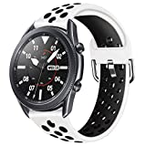 YPSNH Compatible para Samsung Galaxy Watch 3 45mm Correa de Silicona Suave de Doble Color 22mm Gear S3 Correa Reemplazo de Pulsera Deportiva para Gear S3 Frontier/S3 Classic/Galaxy Watch 46mm