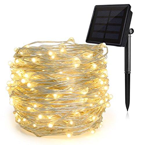 HEEPOW 200 LED Luci Stringa Solare Aggiornata (3 Fili, 8 Modalità, 72ft / 22M) (multicolore)