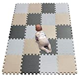 YIMINYUER Waterproof Interlocking Soft Eva Foam Mats Pads Room Garage Floor Tiles Mat Set Kids Baby Play Puzzle Yoga Fitness Gym Exercise Mats White Beige Gray R01R10R12G301020
