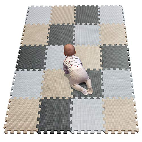 YIMINYUER Waterproof Interlocking Soft Eva Foam Mats Pads Room Garage Floor Tiles Mat Set Kids Baby Play Puzzle Yoga Fitness Gym Exercise Mats White Beige Gray R01R10R12G301020